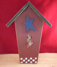 """Primitive Country Star Wooden Bird House Hanging Wall Decor Art 17"""""""