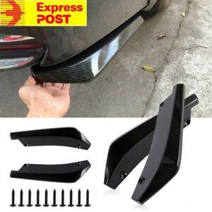 2x Universal Carbon Fibre Rear Bumper Lip Diffuser Splitter Canard Car Protecter