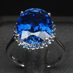 SAPPHIRE KASHMIR BLUE OVAL 8.40 CT. 925 STERLING SILVER RING SZ 6.25 ENGAGEMENG