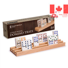 Yellow Mountain Imports Premium Beechwood Domino Racks Trays - Set of 4