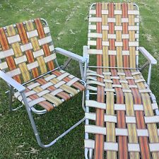 Vtg Lawn Chair Chaise Lounger Retro Alum Webbed Brown White Patio Pool BBQ Beach