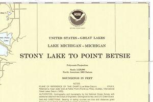 Vintage Nautical Chart # 14907 Stony Point to Point Betsie Lake Michigan 1980