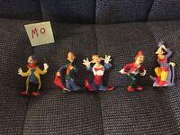 "Set Of 5 Vintage Plastic Clowns Cake Toppers Decorations Resin Unique 2.5"""
