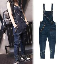 Women Punk Denim Casual Loose Overall Jean Harem Pant Suspender Jumpsuit Trouser