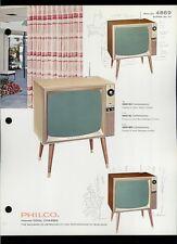 Rare Vintage Original 1963 Philco Model 4869 B&W Television TV Dealer Sheet Page