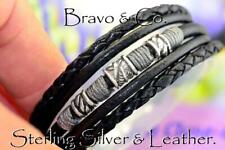 1B-080 HANDMADE Sterling Silver Leather Feather Armband Wristband Men Bracelet.