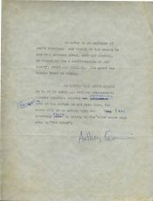 Anthony QUINN (Actor/Painter/Writer): Typed Statement Signed about Acting
