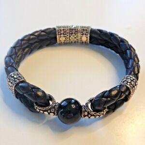 John Hardy Men's Silver Onyx Leather Bracelet