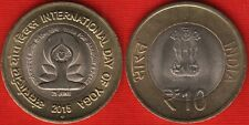 "India 10 rupees 2015 ""International Day of Yoga"" BiMetallic UNC"