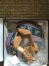 USED ONCE - $1,495.00 GIUSEPPE ZANOTTI Nude Embroidered Wedge Sandal Size (37)