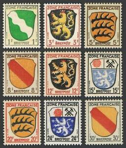 Germany 4N1-4N4,4N6-4N10 French zone,MNH.Michel 1-4,6-10. Coat of Arms,1945-1946