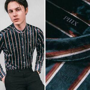 Mens Pendlebury Green Velvet Striped Retro Kaftan Shirt by Phix XS S M L XL XXL