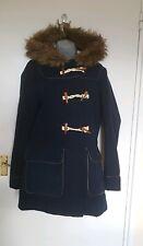 Internacionale Womens Navy Fur Hood Size 12 Duffle Coat Winter Toggle