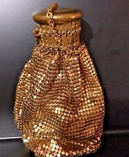 VINTAGE WHITING AND DAVIS GOLD METAL MESH PURSE FLIP UP LID Evening accordion