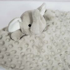 Elegant Baby Elephant Security Blanket Lovey Lovie Gray Minky Dot Satin