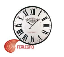 OROLOGIO DA PARETE IN LEGNO SHABBY BIANCO STILE INGLESE DIAM.60CM 21418 LOWELL