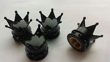 Black Crown Car Bike Motorcycle Van BMX Wheel Tyre Valve Dust Cap Covers x 4 pce