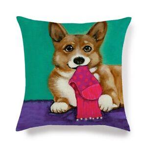 """Corgi Design Decorative Cotton Linen Throw Pillow Case Cushion Cover Sofa 18"""""""