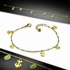 Marine Stainless Steel Golden/Anklet Bracelet With Charms Anchor