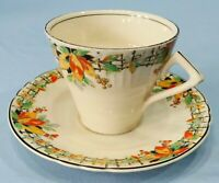 Vintage Art Deco Myott Cup and Saucer Berries Leaves and Fence