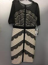 New-JAX Illusion Exposed Shoulder Sheath Dress in Black/Ivory sz 12 $149