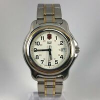 Swiss Army Mens 90s Officers Two Tone Stainless Steel Analog Quartz Wristwatch