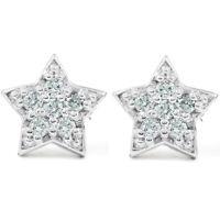 14K White Gold Diamond Pave Petite Star Studs Dainty High Polished 6.5MM