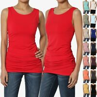 TheMogan S~3X Round Neck Ruched Side Tank Top Sleeveless Stretchy Skinny Blouse
