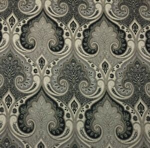 "KRAVET LATIKA SHADOW GRAY BLACK DAMASK 100% LINEN MULTIPURPOSE FABRIC BTY 54""W"