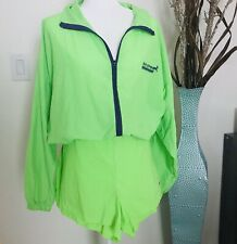 Vintage Retro Bold Neon Green 80 90 Windbreaker Zip Up Jacket & High Waist Short