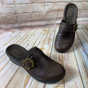 Clarks Bendables Womens Size 6 M Brown Leather Slip On Mule Clogs Wedge Shoes