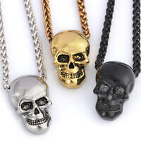 Punk Skull Stainless Steel Pendant Necklaces For Unisex Halloween Jewelry Gift