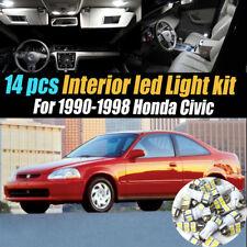 14Pc Super White Interior LED Light Bulb Kit Pack for 1990-1998 Honda Civic