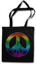 RAINBOW PEACE SYMBOL TASCHE STOFFTASCHE Sign Logo Frieden Regenbogen Hippie 60s
