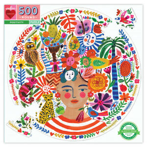 Eeboo Positivity Freda Round Puzzle 500 Piece Kids Toy Family Puzzle 04077
