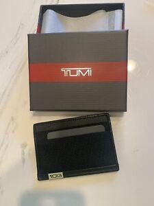 New Auth. Tumi Men Alpha SLG Slim Card Case & ID Window Wallet Cards Black $145