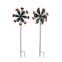 Red White Blue Metal Flower Stars and Stripes Wind Spinner Garden Stake Set of 2