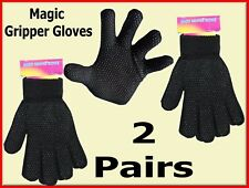 2 PAIRS ADULTS BLACK MAGIC GRIPPER THERMAL GLOVES DRIVING WARM ONE SIZE STRETCH