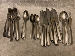 Oneida USA Stainless Flatware Almost Service 12 Piloti Teaspoons Forks + 57 Pcs