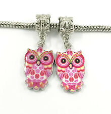2pcs Silver Owl European Charm Crystal Spacer Beads Fit Necklace Bracelet DIY !