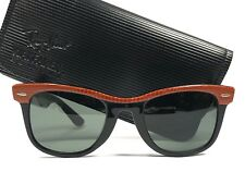 VINTAGE RAY BAN WAYFARER ORANGE LEATHER BLACK G15 GREY LENS BL US SUNGLASSES