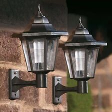 2x Solar Powered White Led Outdoor Fence Wall Lantern Light Lamp Bright Garden