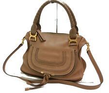 Auth Chloe Marcie Medium Shoulder Bag Leather Brown 0301a