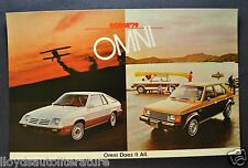 1979 Dodge Omni and 024 Postcard Sales Brochure Excellent Original 79