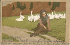 Gänseliesl, Gänsemagt, Gans, Geflügel, Litho-Ak von 1903 signiert Paul Hey