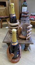 Intagliati a mano a mano in legno porta bottiglia vino-Ideale Regalo Unico in legno FREEPOST