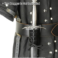 Black Leather Sword Frog Belt Hook Dagger Main Gauche Holder