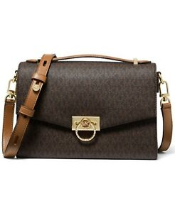 ❤️ Michael Kors Hendrix Medium Signature Brown/Acorn/Gold Messenger Bag