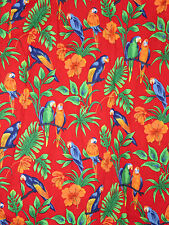 Red Parrots Hawaiian Shirt XL Birds Hibiscus Flowers Cotton Green Orange Blue