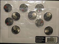 2013 Canada Laura Secord 25 cent Circulation 10-pack coin coloured quarter 1812